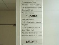 JHP mosty - hlavní info cedule (hliníkový systém Cosign Indoor)