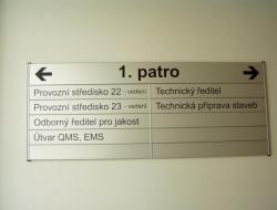 JHP mosty - patrová cedule (hliníkový systém Cosign Indoor)